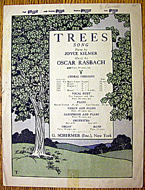 1922 Trees Song By Oscar Rasbach (Poem By Joyce Kilmer)