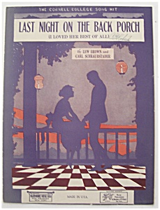 Sheet Music For 1922 Last Night On The Back Porch