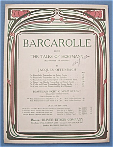 Sheet Music For 1909 Barcarolle