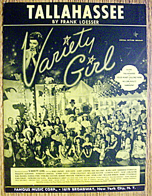 Sheet Music For 1947 Tallahassee (Variety Girl)