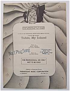 Sheet Music For 1951 Tahiti, My Island