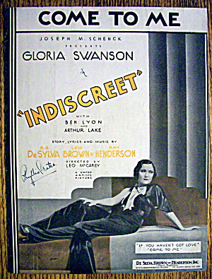 Sheet Music For 1931 Come To Me