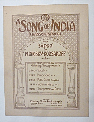 Sheet Music For 1927 A Song Of India (Chanson Indoue)