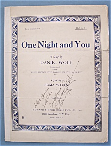 Sheet Music For 1929 One Night And You