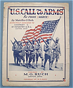 Sheet Music For 1916 U.s. Call To Arms