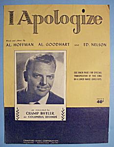 Sheet Music For 1931 I Apologize (Image1)