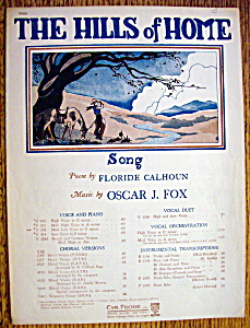 Sheet Music For 1925 The Hills Of Home (Image1)