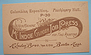1893 Columbian Exposition McIndoe Brothers Trade Card (Image1)