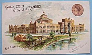 1893 Columbian Expo Gold Coin Stove & Range Trade Card (Image1)