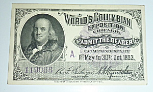 1893 Columbian Exposition Admit The Bearer Ticket (Image1)