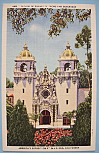 1935 California Pacific Expo Palace Of Foods Postcard (Image1)