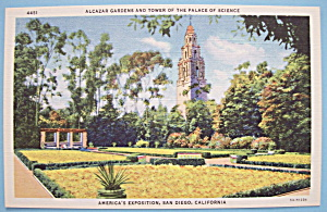 1935 California Pacific Expo Alcazar Gardens Postcard