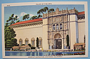 1935 California Pacific Expo Palace Of Arts Postcard (Image1)