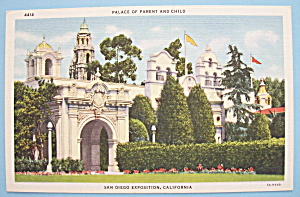 1935 California Pacific Expo Palace Of Parent Postcard