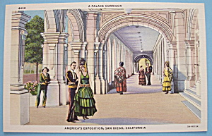 1935 California Pacific Expo Palace Corridor Postcard