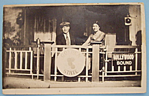 Man & Woman On Train Picture Postcard (Riverview Park) (Image1)