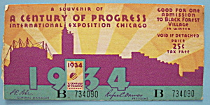 Ticket-1934 Century Of Progress Admission-Chicago Fair (Image1)