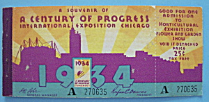 1934 Century Of Progress Admission Ticket Booklet
