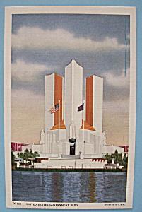 1933 Century Of Progress U. S. Government Bldg Postcard (Image1)