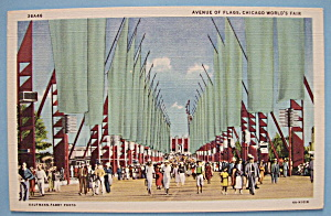 Avenue Of Flags at Chicago World's Fair Postcard (1933) (Image1)