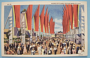 Avenue Of Flags Postcard (1933 Chicago Fair) (Image1)