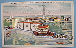 1933 Century Of Progress Armour Building Postcard