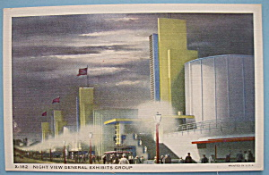 General Exhibits Postcard (Night View)-(Chicago Fair) (Image1)