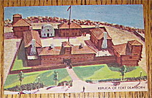 Replica Of Fort Dearborn Postcard (Century Of Progress) (Image1)