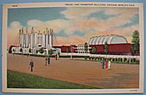 1933 Century Of Progress Travel/Transport Bldg Postcard (Image1)