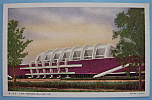 1933 Century Of Progress Transport Building Postcard (Image1)
