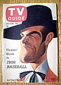 Tv Guide - April 12-18, 1958 - Hugh O'brian