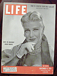 Life Magazine-november 5, 1951-ginger Rogers