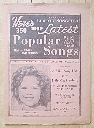 1930's Original Liberty Songster Shirley Temple Cover  (Image1)