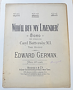 1896 Who'll Buy My Lavender Sheet Music By Ed German