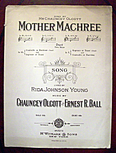 Sheet Music of 1910 Mother Machree (Image1)