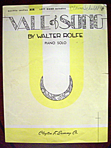 Sheet Music Of 1926 Vale Of Song