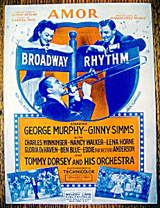 Sheet Music For 1943 Amor From Broadway Rhythm