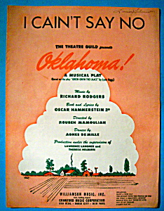 Sheet Music Of 1943 I Cain't Say No