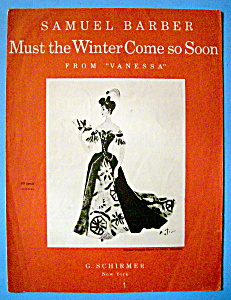 Sheet Music For 1958 Must The Winter Come So Soon