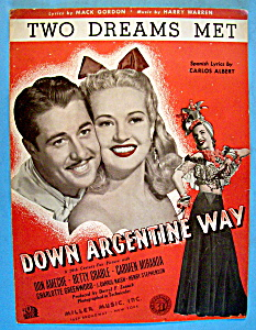Sheet Music For 1940 Two Dreams Met