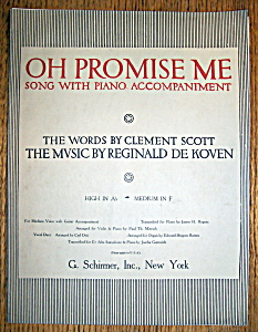 Sheet Music For 1917 Oh Promise Me