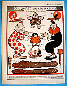 Slim & Sli, The Circus Clown Paper Dolls - January 1924