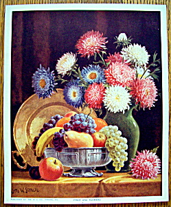 Fruit & Flowers Lithograph 1920's W. C. Co.