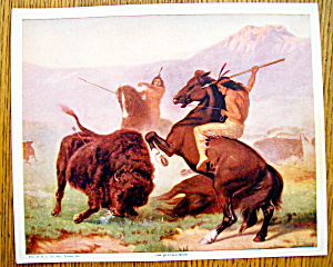 Lithograph Of Buffalo Hunt 1920's W. C. Co