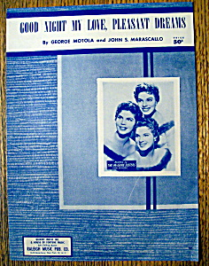Sheet Music For 1956 Good Night My Love, Pleasant Dream