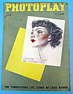 Photoplay Magazine Cover July 1936 Claudette Colbert