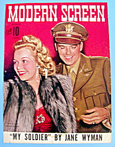 Modern Screen Magazine Cover Jan 1943 Wyman & Reagan