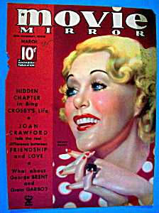 Movie Mirror Magazine Cover March 1935 Grace Moore