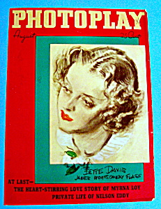 Photoplay Magazine Cover August 1936 Bette Davis