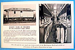 1934 Century Of Progress, Burlington Route Postcard (Image1)